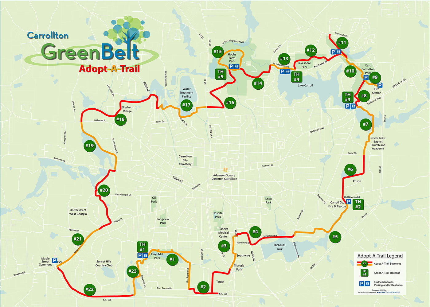 Green Belt Map Green Belt Aat Map 2016   The Carrollton Greenbelt