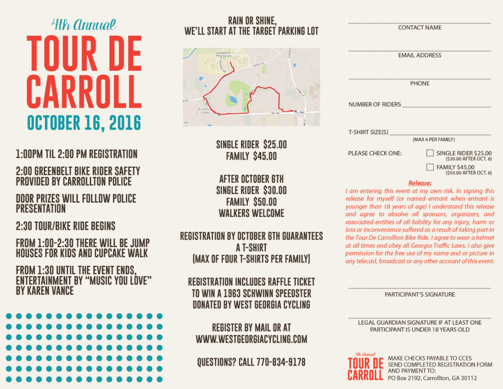 Tour De Carroll 2016 registration form