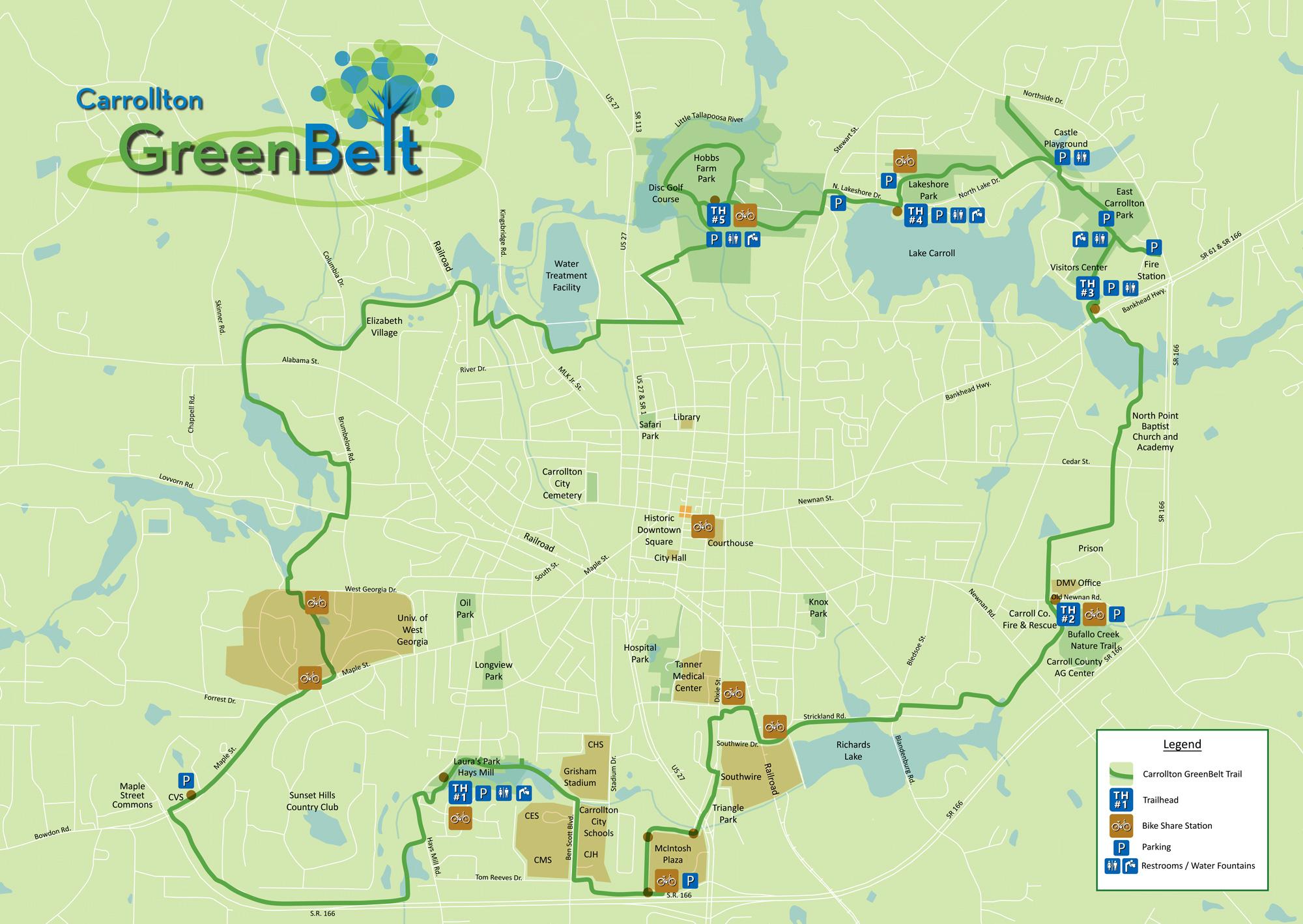 Map The Carrollton Greenbelt - Map ga