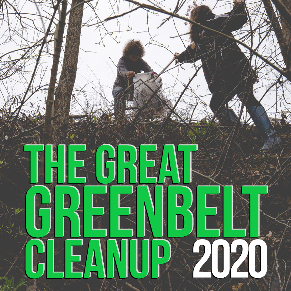 GGCU 2020 logo over a picture of volunteers cleaning a steep bank